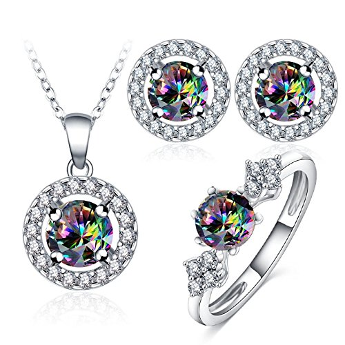 KnSam Jewelery Set Offer Women's Earrings Ring Necklace with Pendant Colorful Crystal Pendant Cubic Zirconia for Woman Wedding Jewelry Size 7 ()