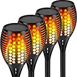 Nekteck Outdoor Torch Light with Flickering Dancing Flames, Waterproof Solar Powered LED Landscape Spotlights Security Decoration for Yard Pool Patio Garden Pathway Walkway 4 Pack, Black