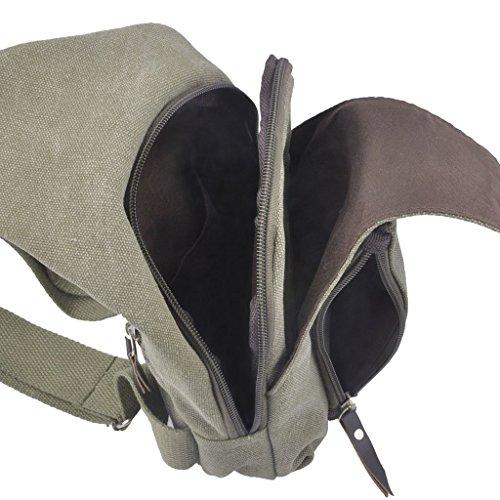 lifeyz Mini hombro pecho Casual Deportes bandolera bolsa de lona para al aire libre viajar bicicleta cinturón bolso Cruz Cuerpo unidades Ejercito Verde