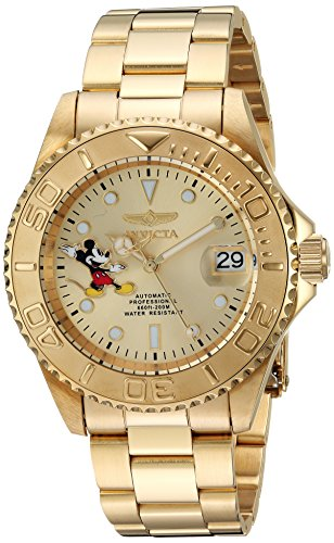 Invicta Men's 'Disney Limited Edition' Automatic Stainless Steel Casual Watch, Color:Gold-Toned (Model: 24756)