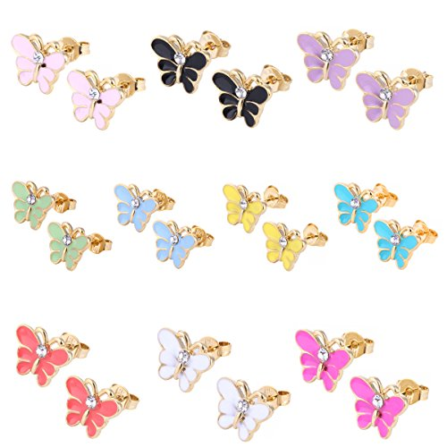 10 Pairs Small Cute Simple Post Stud Earrings Set for Girls Kids Gold Tone Mix and Match (Butterfly)