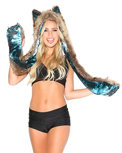 Gear Galaxy Costume (iHeartRaves Wolf Rave Spirit Animal Furry Hood (Electric Galaxy))