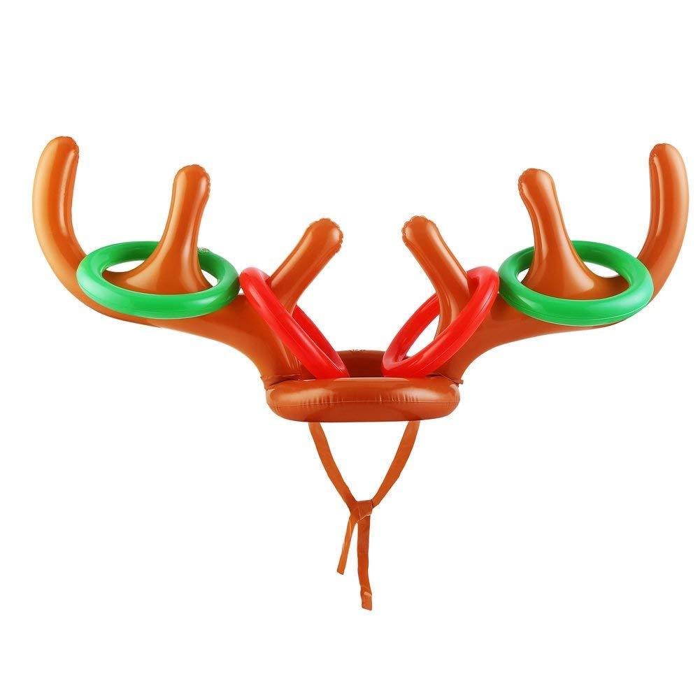 CCINEE 空気注入式トナカイ 枝角帽子 鹿のトスゲーム おもちゃ 子供の投げゲームとクリスマスパーティー用 B07G772KKZ