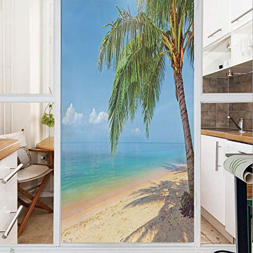 Decorative Window Film,No Glue Frosted Privacy Film,Stained Glass Door Film,Tropic Botanic Image with Coconut Palms near Ocean Sea Beach Photo,for Home & Office,23.6In. by 59In Sky Blue Aqua Cream Gre -