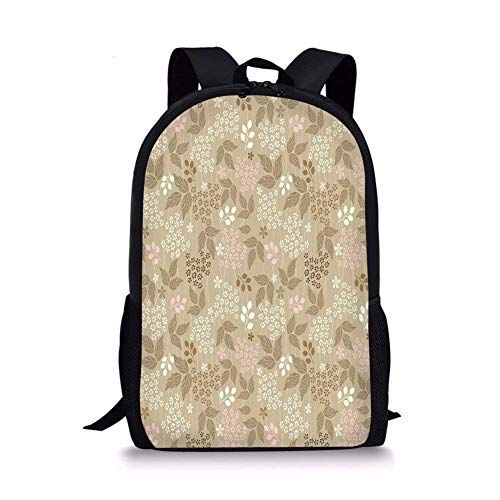 School Bags Floral,Vintage Leaves Daisy Silhouettes Ornate Environment Elements Romantic Pattern Decorative,Tan Pink Cream for Boys&Girls Mens Sport Daypack ()