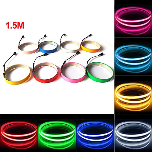 FEELDO 10 Colors 100CM14MM 1m Electroluminescent Tape EL Wire Cold Light Strip Car Ambient Light DC 12V (Orange)