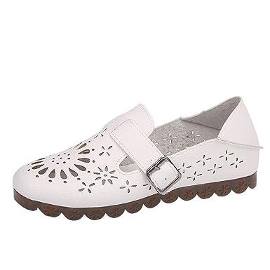 Yvelands Moda Mujeres Hollow Hebilla Correa Plana Zapatos de Ocio de Punta Redonda Zapatos cómodos: Amazon.es: Ropa y accesorios