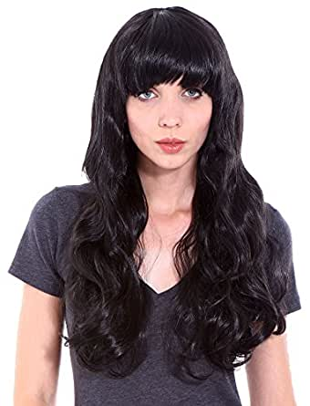 Simplicity Wigs for Women Black Costume Wigs Curly Halloween Cosplay Wig