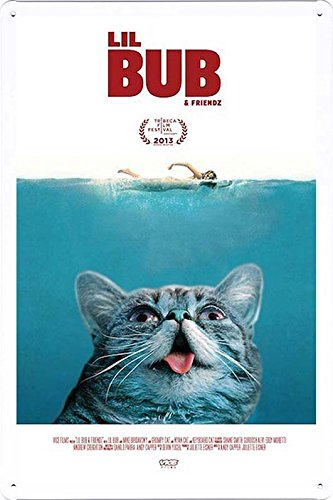 Metal Plate Movie Theater Decor Tin Sign Poster Wall Art (GAS-MFK1302) by Global Animal Sign 20x30cm (Plush Lil Bub)