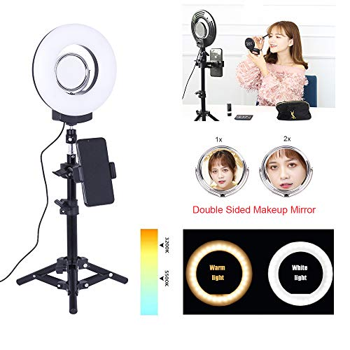 8inch Selfie LED Desktop Ring Light with Adjust Stick Stand&Cell Phone Holder Kit for YouTube Videos/Live Stream/Makeup Photography,24W 3200-5500K Dimmable Camera Light Lamps for Phone Video Shooting