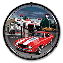 1969 Camaro at Mobilgas Station LED Wall Clock, Retro/Vintage, Lighted, 14 inch