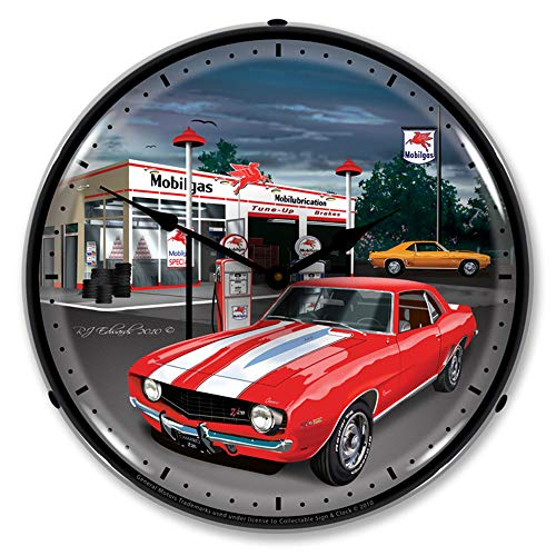 1969 Camaro at Mobilgas Station LED Wall Clock, Retro/Vintage, Lighted, 14 inch ()