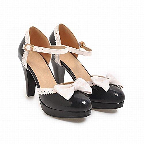 Mee Shoes Women's Sweet Bow Upper High Heel Buckle Court Shoes Black KvUmEzrnC