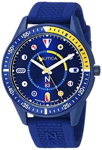 Nautica N83 Men's NAPSPS904 Surf Park Blue/Yellow Silicone Strap Watch