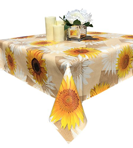 Qute Home 55 x 95-inch Rectangle Tablecloth | Daisy Beige & Yellow Vinyl Dining Table Cover (Seats 6-8 People) (Vinyl Yellow Seat)
