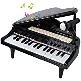 ANTAPRCIS 31 Keys Piano Toys for Girls, Electronic Keyboard Musical Toy Set with Microphone Light and Song, Learn-to-Play for Kids Toddlers Singing Development, Audio Link with Mobile MP3 Ipad, Black