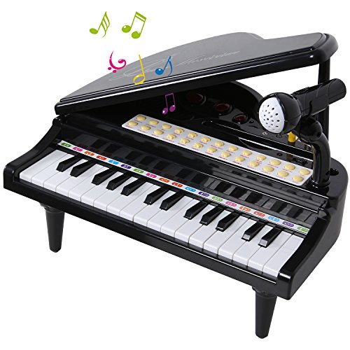 ANTAPRCIS 31 Keys Piano Keyboard Toy with Microphone, Audio Link with Mobile MP3 Ipad, Black