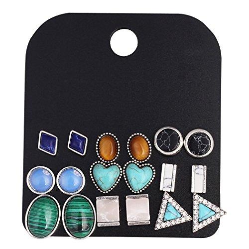 (Multiple Women Earring Studs Vintage Stone Earring Set Triangle/Round/Oval/Bar/Square Geometric Ear Studs)