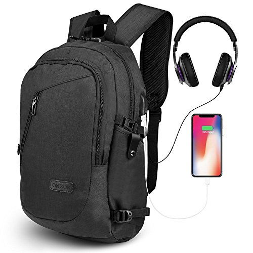 ONSON Anti Theft Laptop Backpack, Business Water Resistant Backpack Travel Bag with USB Charging Port & Headphone Interface for Men&Women College Student,Fits 15.6 inch Laptop & Notebook – Black Review