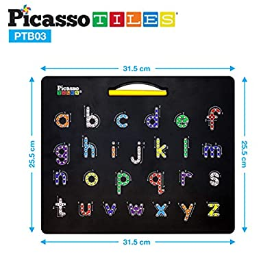 PicassoTiles 2-in-1 Double Sided Magnetic Alphabet Board ABC A-Z Upper Case Capital and Lowercase Letter Writing Reading Playboard 12x10 inch Large Magnet Tablet Pad Open-Ended Learning Playset PTB03: Toys & Games