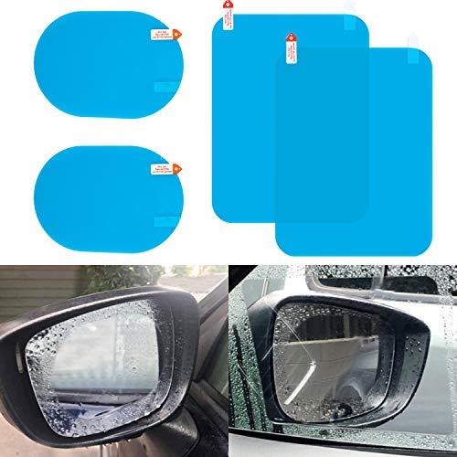 LivTee Car rearview mirror rainproof film, HD clearanti-fog nano coatingfilm, forcarmirrorsside windows (2 Oval Mirror Film + 2 Rec Side Window Film)