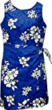 Pacific Legend Girls Shadow White Hibiscus Sarong Dress Blue 12