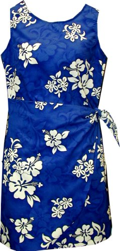 Pacific Legend Girls Shadow White Hibiscus Sarong Dress Blue 12 by Pacific Legend