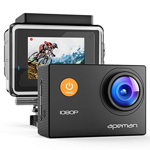 【Upgraded】APEMAN Action Camera 1080P Full HD Waterproof Sport Camera 30m Underwater Camcorder with 170° Wide Angle and Mounting Accessory Kits apeman