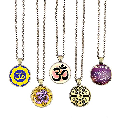 Necklace Chain Om Necklace inches Symbol Pendant 1 Om Cabochon Handmade Inspired Yoga Yoga 19 5pcs with Bronze Glass Pendant Bling Long Symbol Bling Gifts for 1w6qvXf