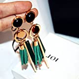 TBSOTB 2-Color Unique Wood Earrings Earring Dangler Eardrop Exaggerated Long Circle Leather Tassel Vintage Women (Green