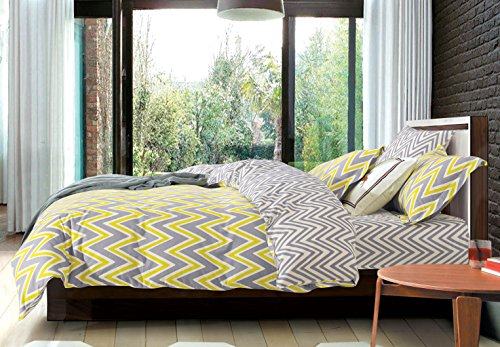 Creative Yellow Grey Chevron 3PC Print Duvet Cover Set, 100% Cotton, King