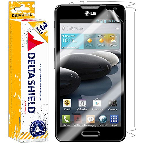 [3-PACK] DeltaShield BodyArmor – LG Optimus F6 Screen Protector & Back Cover – Premium HD Ultra-Clear Shield with Lifetime Warranty Replacements – Anti-Bubble & Anti-Fingerprint Military-Grade Film