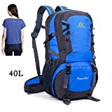 Camping Hiking Daypacks - 40L Travel Hiking Backpacks - Sports Hiking Rucksack - Outdoor Mountain Climbing Backpack Knapsack with Buckle Whistle & Shoes Compartment for Trekking Camping Cycling - Blue