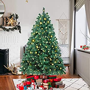 Ztotop Premium Spruce Hinged Artificial Christmas Tree with Sturdy Stand