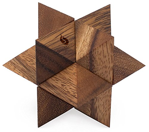 SiamMandalay Shooting Star: Handmade & Organic 3D Brain Teaser Wooden Puzzle for Adults from with SM Gift Box(Pictured) -