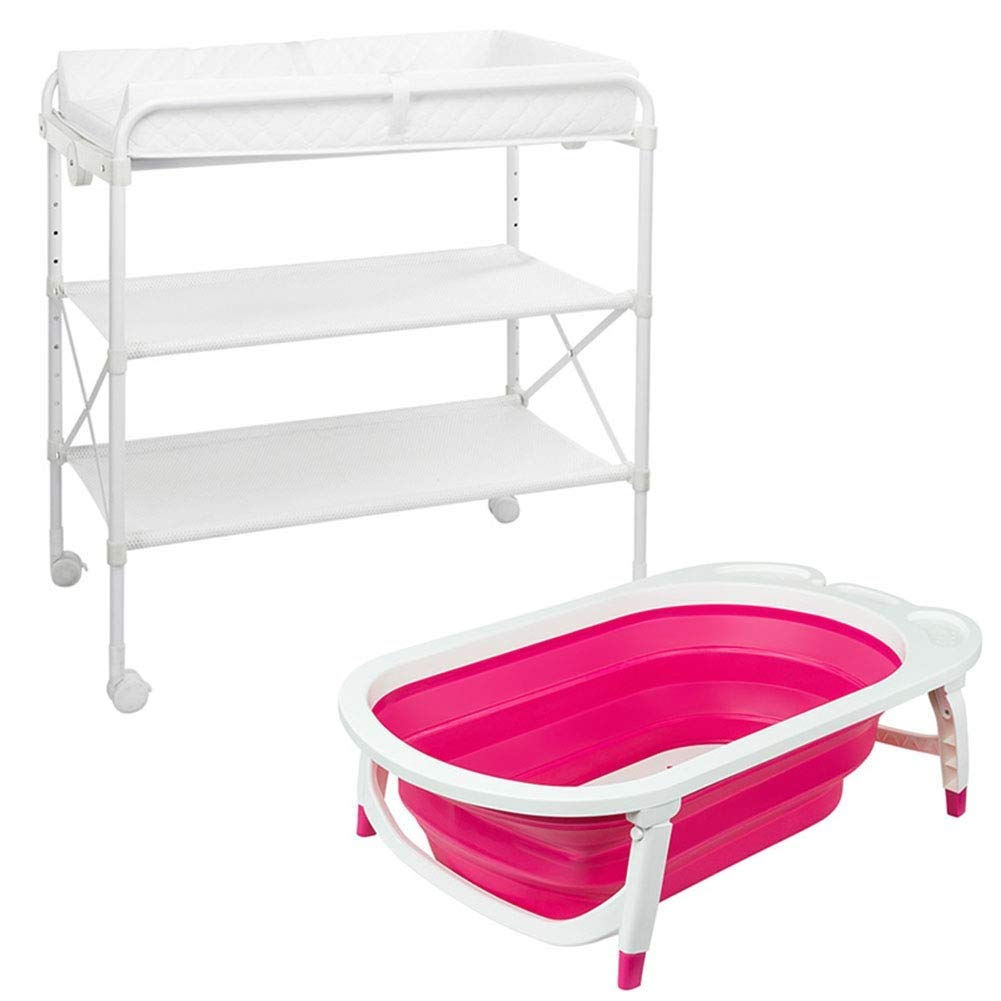 Sunny Baby Changing Diaper Station with Foldable Bathtub Diaper Unit Station Portable Baby Massage Station Storage Rack (Color : Pink)