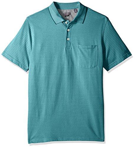 (Van Heusen Men's Tall Size Big Jacquard Short Sleeve Polo, Aqua Blue Jade, Large)