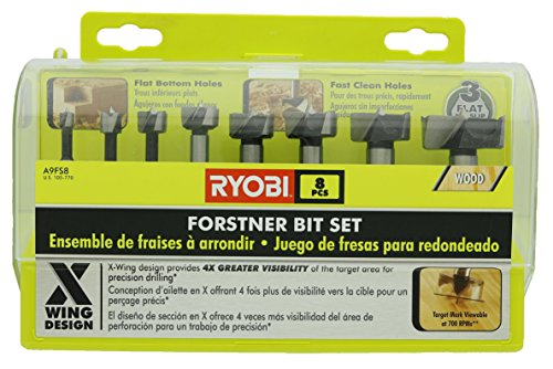 Ryobi A9FS8R1 8-Piece X-Wing Forstner Bit Set for Woodworking