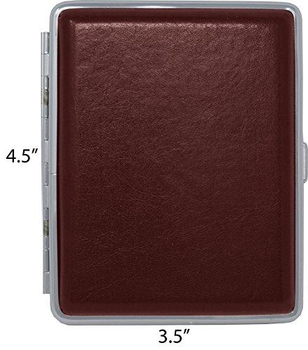 (Burgundy Smooth Leather (Full Pack 100s) Metallic Cigarette Case & Stash Box)