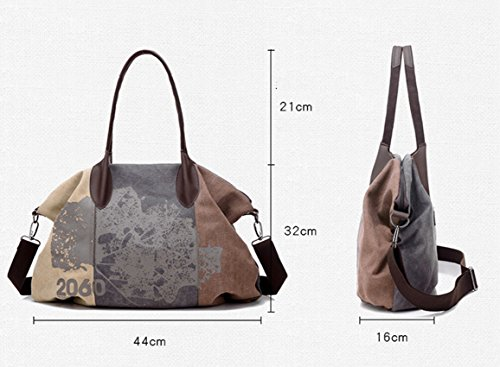 Travel Casual Oversize Shoulder Canvas Tote Women's Brown Hobo 44cmx32cm Bag Shopping Bag wFxannUq6R