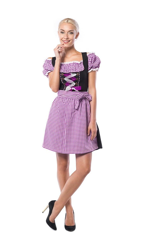 Partychimp Damen Dirndl Anne-Ruth Violett / Schwarz mit einer Bluße und Schürze, größe 36-48