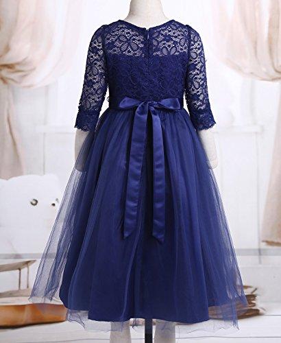 FEESHOW Vestido Niña fiesta invierno Vestido Elegante Princesa con Flores de Mang larga para Niñas SZ 4-14 años Azul oscuro 14: Amazon.es: Ropa y accesorios