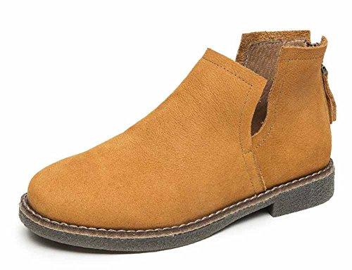 Cremallera de Botas botas Nuevas Botas Mujer Yellow Otoño Botas Chelsea invierno Retro Ante tobillo qanxFPg0