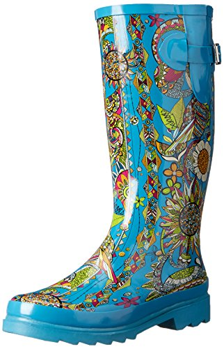 The SAK Women's Rhythm Rain Boot, Teal Spirit Desert, 9 M (Shaft Rain Boot)