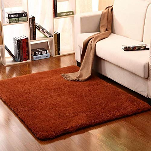 Susens Household Solid Color Mat Living Room Bedroom Wool Plush Decoration Rug Area -