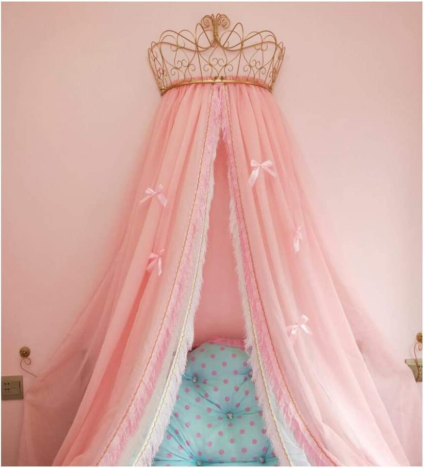 KID LOVE Princess Bed Canopy,crown Dome Bed Curtain For Girls Pink Bow-knots Decorative Drapery-a