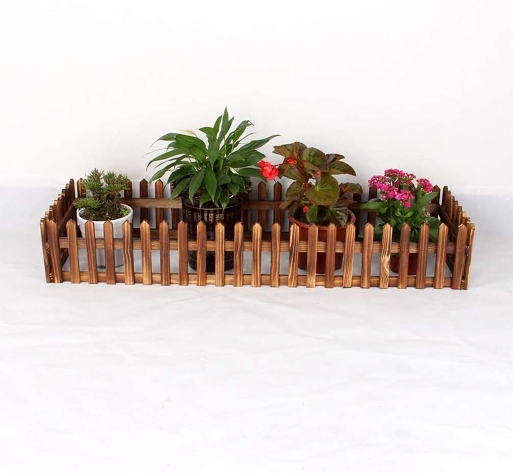Luwint Miniature Decorative Wooden Edging| Expandable Home Indoor Garden Border Grass Lawn Picket Edge Fence Decoration (31″L x 16″W)