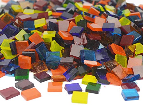Lanyani 1800 Pieces Square Glass Mosaic Tiles Stained Glass Cathedral Glass Pieces Translucent Assorted Bright Colors for Arts/Crafts 35oz/1kg