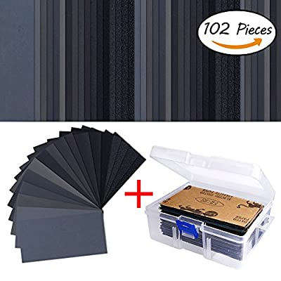102 Pieces Sandpaper Assorted Wet/ Dry, 60 to 3000 Grit Sandpaper Assortment, 3 x 5.5 Inch Abrasive Paper Sheet with Free Box, for Automotive Sanding, Wood Furniture Finishing