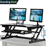 Standing Desk, Height Adjustable Stand Up Desk Gas Spring Riser Converter Sit to Stand Desk with Removable Keyboard Tray for Desktop Laptop Dual Monitor (32'' Standing Desk)